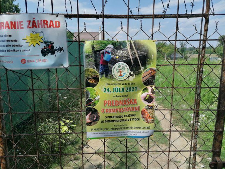 plagát o prednáške OZ Kompostujme v Seredi